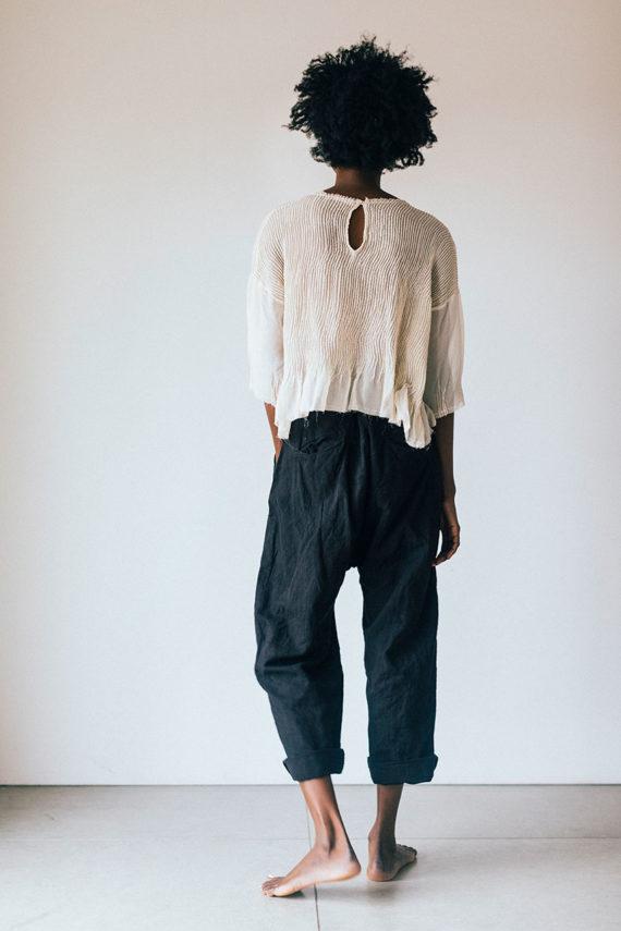 model wearing char blouse