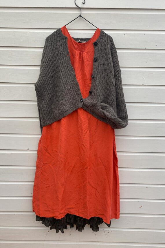 outfit paper flower dress and Fagin cardigan