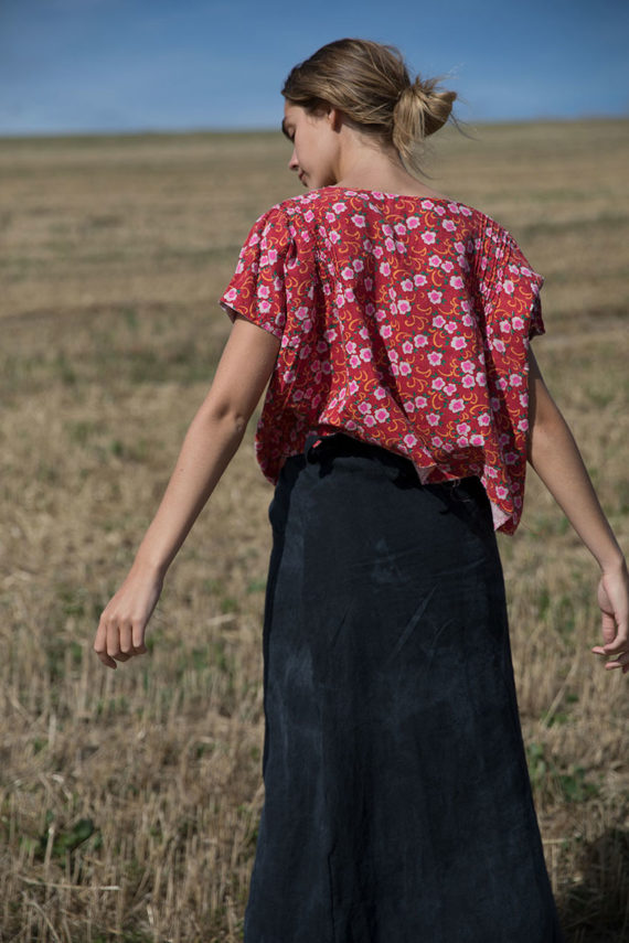 model wearing sula linen wrap hope skirt