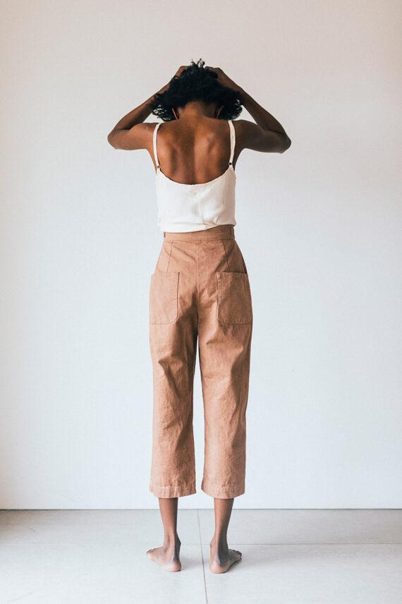 model wearing cambridge + cp pants
