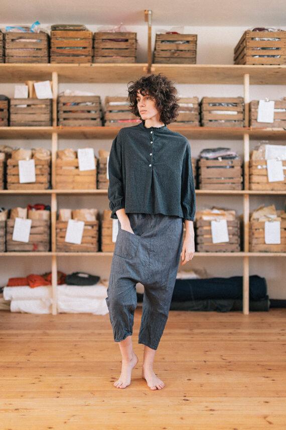model wearing dirt pants